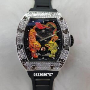Richard Mille RM 5101 Tourbillon Tiger And Dragon Diamond Black Rubber Strap Swiss ETA Automatic Watch