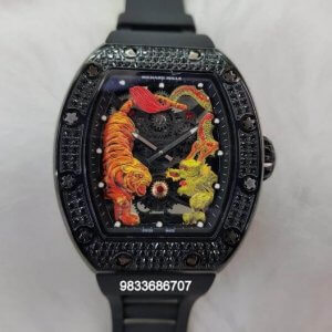 Richard Mille RM 5101 Tourbillon Tiger And Dragon Diamond Full Black Swiss ETA Automatic Watch