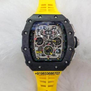 Richard Mille RM 011 Yellow Rubber Strap Swiss ETA Automatic Watch
