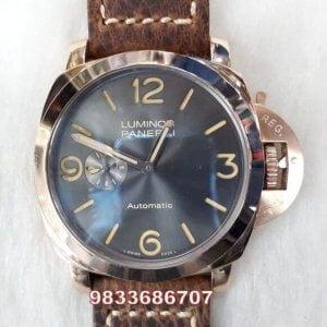 Luminor Panerai Rose Gold Brown Leather Strap Swiss Automatic Watch