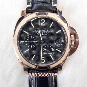 Luminor Panerai Power Reserve Rose Gold Black Dial Swiss Automatic Watch