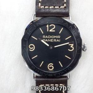 Radiomir Panerai Brevettato Brown Leather Strap Black Dial Swiss Automatic Watch