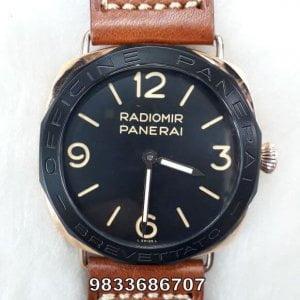 Radiomir Panerai Brevettato Orange Leather Strap Black Dial Swiss Automatic Watch