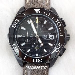 Tag Heuer Calibre 16 Aquaracer Brown Leather Strap Black Dial Chronograph Watch