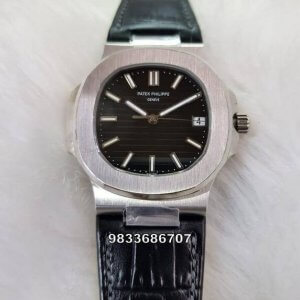 Patek Philippe Nautilus Leather Strap Black Dial Swiss ETA Caliber 26‑330 Automatic Watch