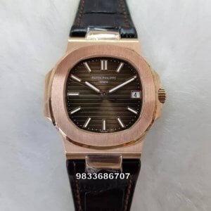 Patek Philippe Nautilus Rose Gold Brown Dial Swiss ETA Caliber 26‑330 Automatic Watch