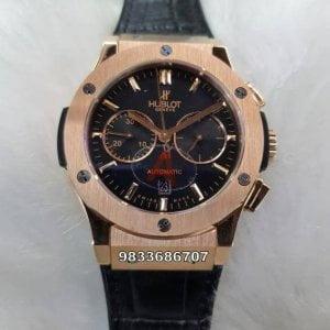 Hublot Classic Fusion Rose Gold Black Dial Swiss ETA 7750 Valjoux Movement Automatic Watch