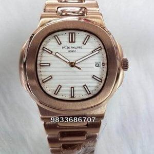Patek Philippe Nautilus Rose Gold White Dial Swiss ETA 7750 Valjoux Automatic Watch