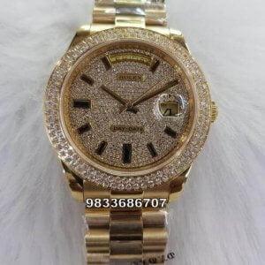 Rolex Day-Date Full Gold Diamond Dial Swiss ETA 2250 Valjoux Automatic Watch