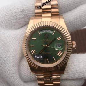 Rolex Day – Date Roman Rose Gold Green Dial Men's Watch