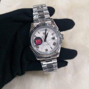Rolex DAY-DATE Roman Fluted Bezel White Dial Swiss Automatic Men's Watch