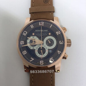 Mont Blanc Time Walker Brown Leather Strap Men's Watch