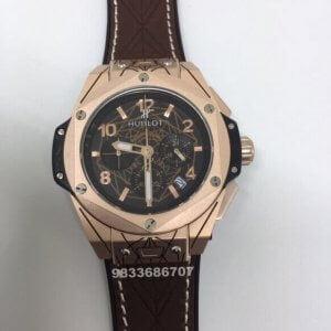 Hublot Big Bang Unico Sang Bleu Chronograph Rose Gold Brown Leather Strap Men's Watch