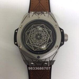 Hublot Big Bang Unico Sang Bleu Silver Brown Leather Strap Swiss Automatic Watch