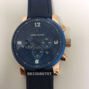 Mont Blanc Time Walker Leather Blue Men's Watch