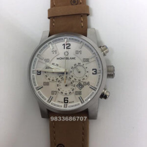 Mont Blanc Time Walker Brown Leather Chronograph Men's Watch