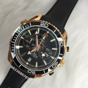 Omega Seamaster Co-Axial Chronometer Rose Gold Black Rubber Strap Men's Watch