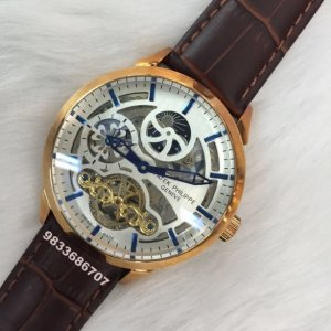 Patek Philippe Complication Tourbillon Moon Phase Rose Gold Brown Swiss Automatic Watch
