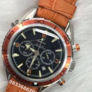 Omega Quantum Of Solace Seamaster Planet Ocean Orange Leather Strap Men's Watch
