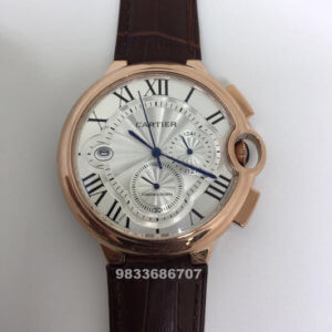 Cartier Ballon Bleu De Swiss Chronograph Brown Leather Strap Men's Watch