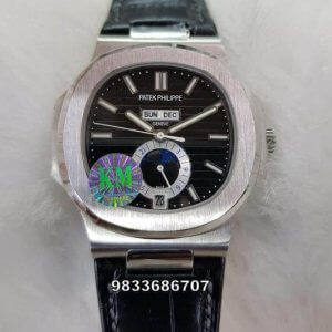 Patek Philippe Annual Calender Moon Phase Black Dial Swiss ETA Caliber 324 Automatic Watch