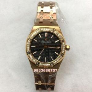 Audemars Piguet Royal Oak Rose Gold Diamond Black Womens Watch