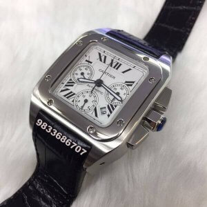 Cartier Santos 100 Steel Swiss ETA Valjoux 7750 Automatic Movement Watch