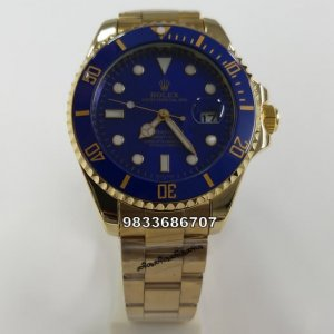 Rolex Submariner Full Gold Blue Dial Swiss Automatic Watch