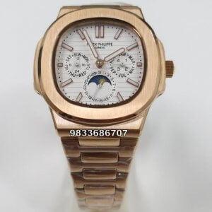 Patek Philippe Nautilus Annual Calendar Rose Gold White Dial Swiss Automatic Watch