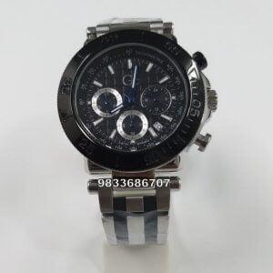 G C Steel Chronograph Black Dial Dual Tone Watch