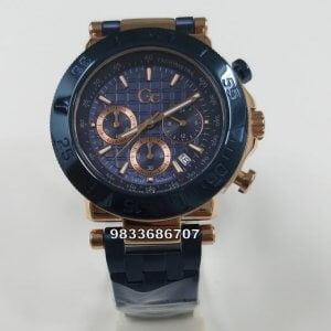 G C Blue Rose Gold Chronograph Watch