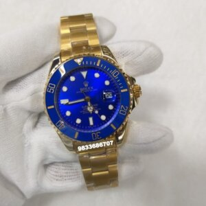 Rolex Submariner Full Gold Blue Dial Swiss Automatic Men's Watch