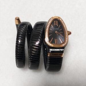 Bvlgari Serpenti Steel Black Dial Gold Roman Marking Diamond Bezel Women's Watch