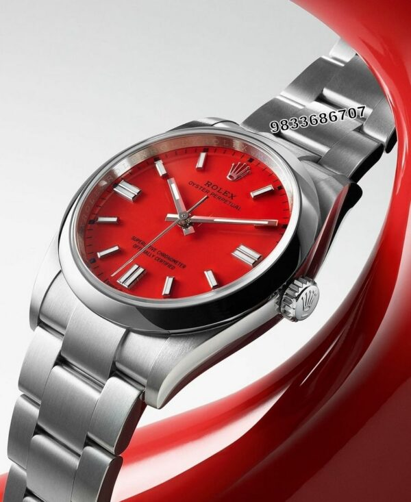 Rolex Oyster Perpetual Silver Red Dial Swiss Automatic Watch