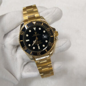 Rolex Submariner Full Gold Black Dial Swiss Automatic Watch
