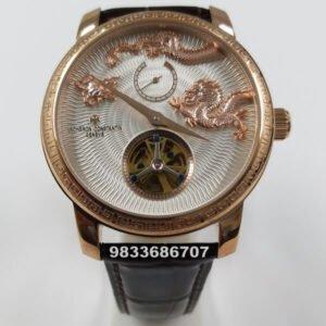 Vacheron Constatin MÉTIERS D'ART Rose Gold Dragon White Dial Swiss Automatic Watch