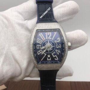 Franck Muller Vanguard Yachting Diamond Swiss ETA 7750 Valjoux Blue Mens's Watch