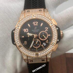 Hublot Big Bang Diamond Rose Gold Black Dial Men's Watch