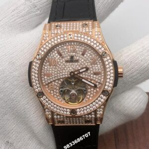 Hublot Big Bang Rose Gold Diamond Tourbillon Swiss ETA 7750 Viljoux Automatic Men's watch