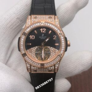 Hublot Tourbillon Solo Bang Sapphires Rose Gold Diamond Swiss ETA 7750 Viljoux Automatic Watch