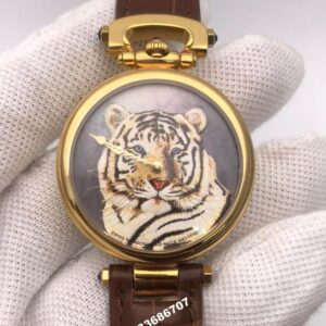 Bovet Fleurier Amadeo Gold Tiger Painted Dial Leather Strap Men's Watches