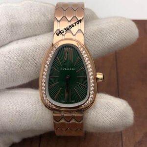 Bvlgari Serpenti Seduttori Rose Gold Green Dial Diamond Bezel Women's Watch