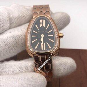 Bvlgari Serpenti Seduttori Rose Gold Black Dial Diamond Bezel Women's Watch