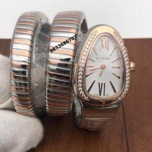 Bvlgari Serpenti Dual Tone White Dial Diamond Bezel Women's Watch