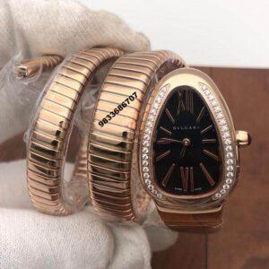 Bvlgari Serpenti Rose Gold Black Dial Diamond Bezel Women's Watch