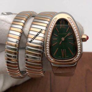 Bvlgari Serpenti Dual Tone Green Dial Diamond Bezel Women's Watch