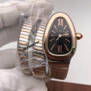 Bvlgari Serpenti Dual Tone Black Dial Dual Tone Strap Women's Watch