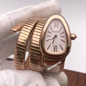 Bvlgari Serpenti Rose Gold White Dial Diamond Bezel Women's Watch