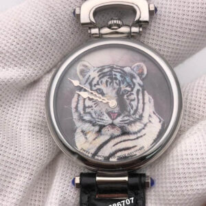 Bovet Fleurier Amadeo Silver Tiger Painted Dial Leather Strap Men's Watches
