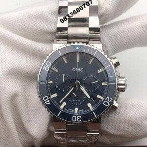 Oris Diving Sliver Strap Blue Dial Chronograph Watch
